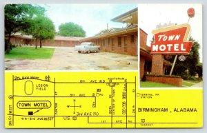 Birmingham Alabama~Town Motel~Location Map~8th Street & 3rd Ave~1958 Car