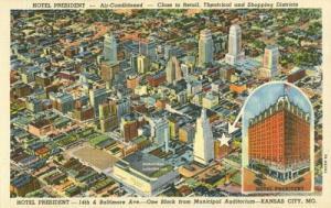 Hotel President, Kansas City, Mo, unused linen Postcard