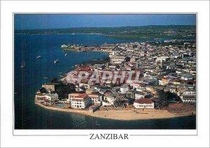 Modern Postcard Aerial view of the triangular peninsula of Zanzibar Stone Tow...