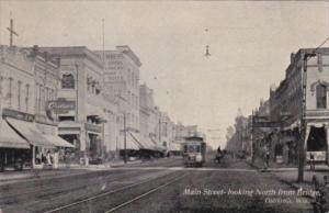Wisconsin Oshkosh Trolley On Main Street Looking North From Bridge 1910