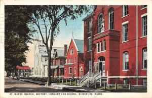 Biddeford Maine St Marys Church rectory convent school antique pc Z12477