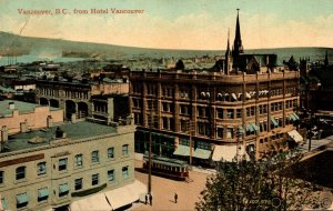 Canada Vancouver View With Trolley From Hotel Vancouver 1911
