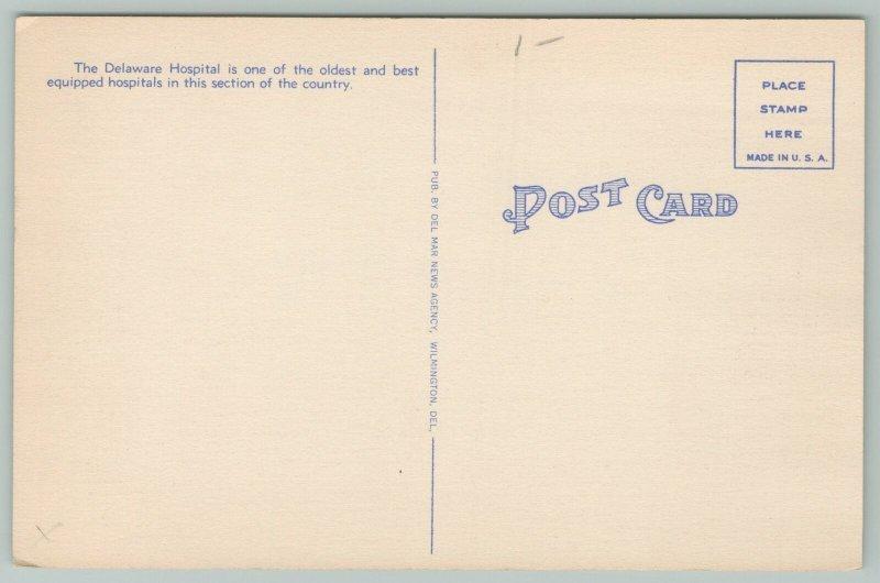 Wilmington Delaware~Washington St Bridge Delaware Hospital~1940s Linen Postcard