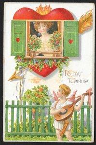 To My Valentine Cupid Serenades Pretty Lady At Window Used c1909