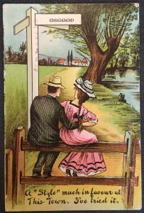 """Vintage Postcard Used Couple, """"A style much in favor at this town..""""  LB"""