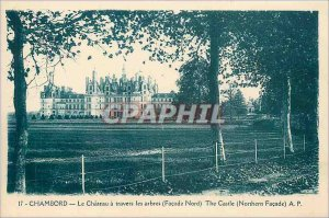 Old Postcard Chambord Castle through the trees North Facade