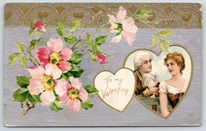 Valentine~Colonial Lady & Gent~Gold Heart Vignette~Wild Roses~Silver Back Emboss
