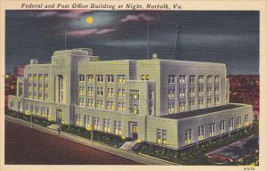 Federal and Post Office Building At Night Norfolk Virginia 1957