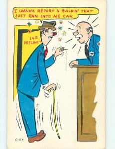 Unused 1950's comic DRUNK MAN AT POLICE STATION REPORTS ACCIDENT o8024