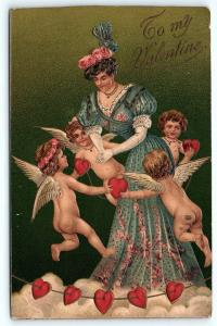 Postcard Valentine To My Valentine Women Surrounded by Cupids C30