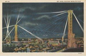 Chicago Illinois~1933 World's Fair~Sky Ride Night Lights~Brach's Snowbuddy~Linen