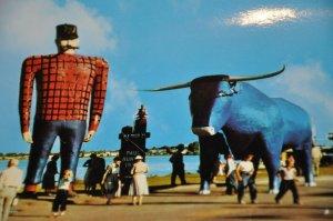 Giant Statue Paul Bunyan Babe Blue Ox Shotgun Lake Bemidji Minnesota Jumbo RPPC