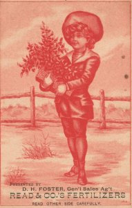 1880s-90s Girl Flowers D.H. Foster Read & Co. Fertilizers New York Trade Card
