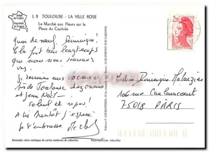 Modern Postcard Toulouse The Pink City The Marche aux Fleurs on the Capitol S...