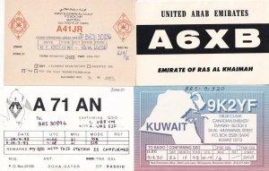 Kuwait United Arab Emirates Oman 4x Amateur Radio QSL Card s