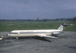 BMA BAC 111 G-AXLM at Manchester Airport, in May 1970, modern unused Postcard