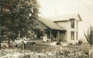 Bonfield, Illinois-Man and Woman-House-Residence c1910 RPPC Real Photo Postcard