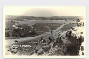 RPPC REAL PHOTO POSTCARD KANSAS SCOTT COUNTY STATE PARK MODEL A IN BACKGROUND WI