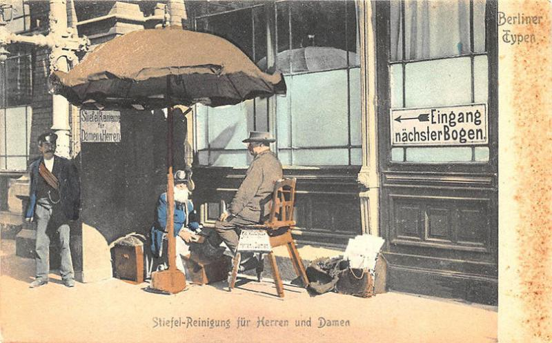 Berlin Germany Types Shoe Shine Street View Postcard