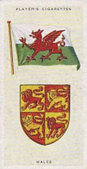 Player Vintage Cigarette Card National Flags & Arms No 49 Wales  1936