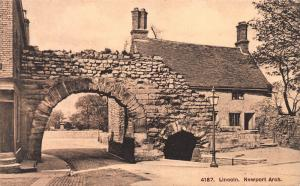 Newport Arch, Lincoln, England, Early Sepia Postcard, Unused