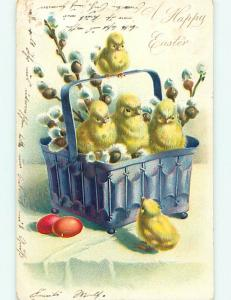 Pre-1907 easter CHICKS PLAYING IN BASKET r2710