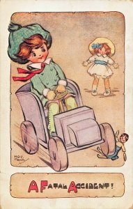 A FATAL ACCIDENT-YOUNG BOY RUNS CAR TOY OVER DOLL~HGC MARSH ARTIST POSTCARD