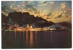 Italy, AMALFI, Notturno, by night, unused Postcard