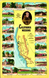 Spanish Missions Maps California Postcard used (20116)