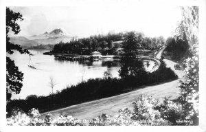 Beautiful Lake Washington Boulevard & Mount Rainier Postcard ca 1940s RPPC