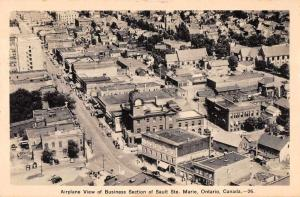 Sault Ste Marie Ontario Canada birds eye view business section antique pc Z26353