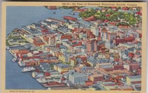 Virginia Norfolk Aerial View Of Downtown Waterfront Curteich
