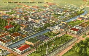 VA - Pulaski, Aerial View of Business Section