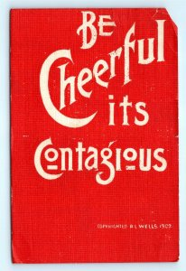 Postcard Artist Signed RL Wells Be Cheerful 1907 Arts Crafts Style Red B40