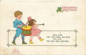 Drummer Boy & Little Girl with Horn S Bergman 1913 Embossed Christmas Postcard