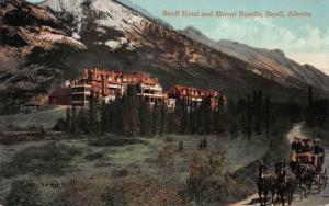 Banff Hotel and Mount Rundle, Banff, Alberta, Early Postcard, Unused