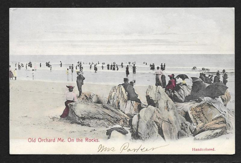 Ocean View Old Orchard Maine on the Rocks Used c1907