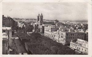 RP: TUNIS .- Perspective sur l'avenue Jules-Ferry et la Cathedrale , 1937