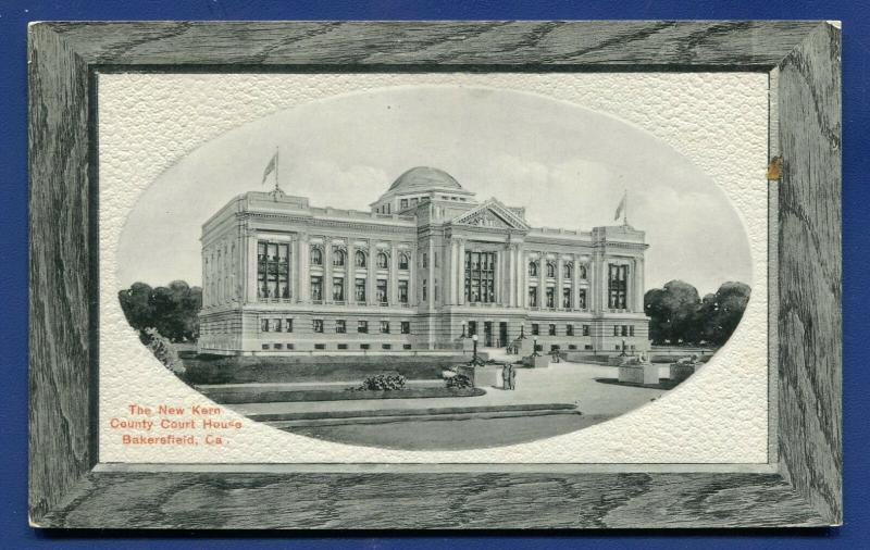 Bakersfield California ca new Kern County Court House old postcard