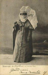 turkey, Dame en Constume Turc, Turkish Lady with Umbrella (1899) Postcard