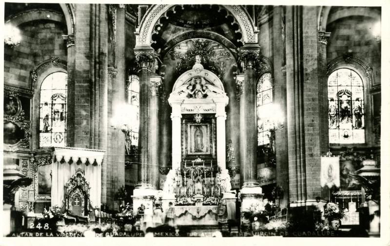 Mexico - Guadalupe. Altar Inside of Basilica of Guadalupe, The Virgin.    *RPPC