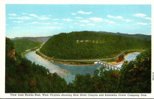 West Virginia View From Hawks Nest Showing New River Canyon & Kanawha Power C...