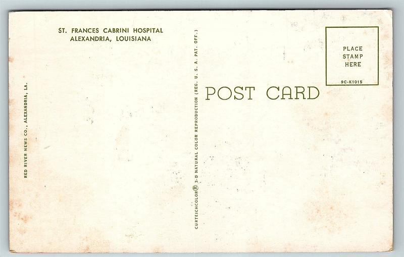 Postcard La Alexandria St Frances Cabrini Hospital 1950 S Old Cars