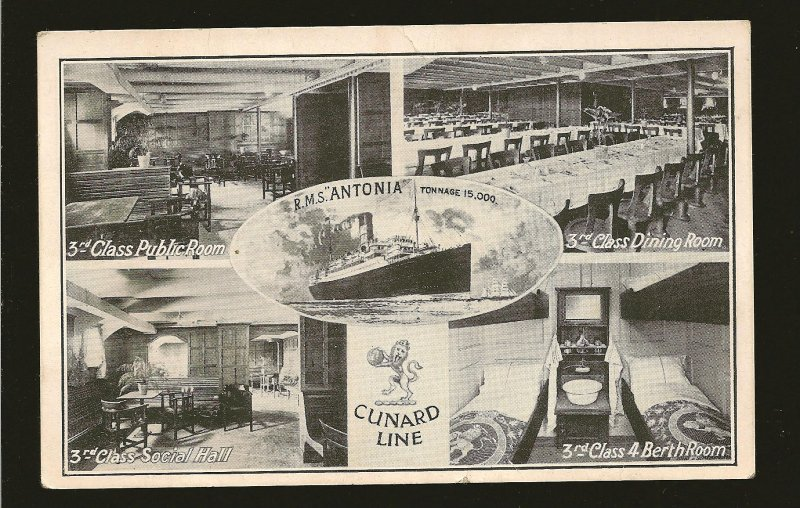 Cunard Line RMS ANTONIA Black & White Postcard Unposted