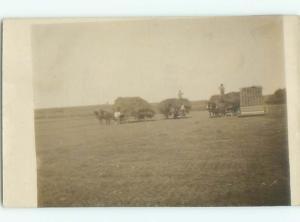 Old rppc HORSE SCENE Great Postcard AB1937