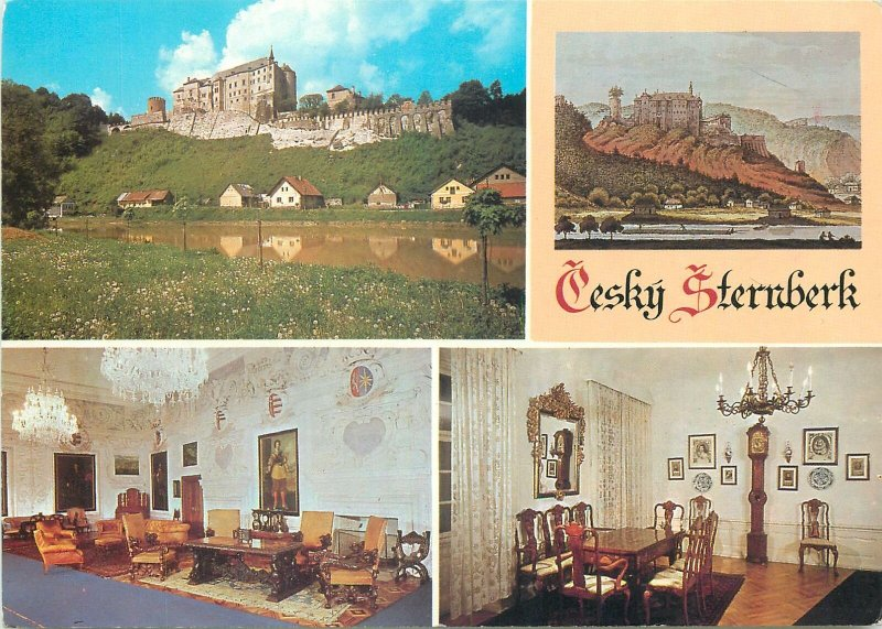 Postcard Czech Republic multi view cesky sternberk castle palace fortress river