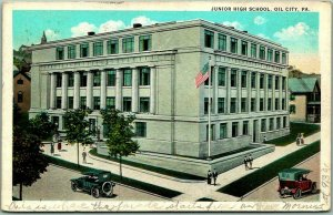 1925 OIL CITY, Pennsylvania Postcard Junior High School Street View w/ Cancel