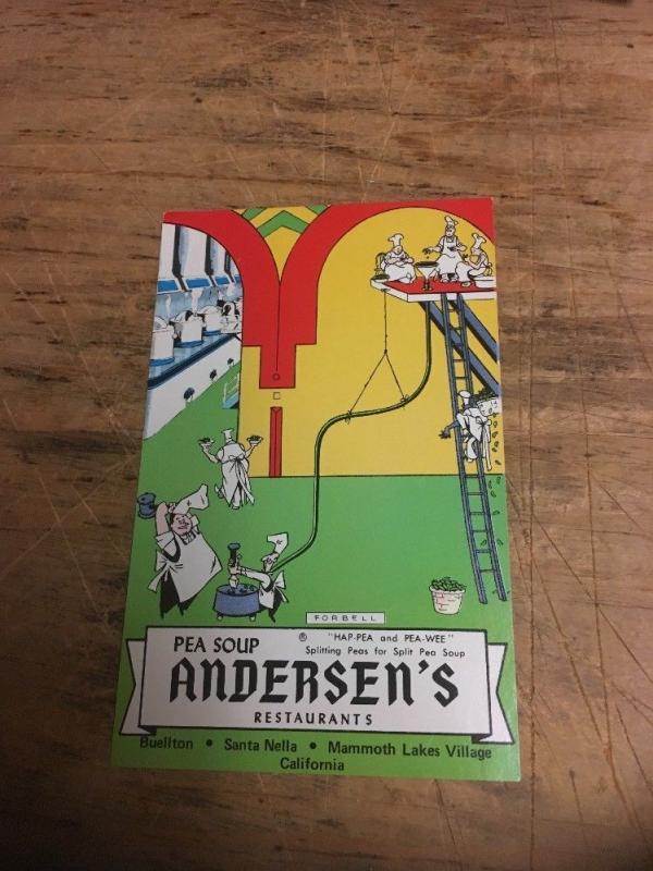 Vtg Postcard: Andersen's Pea Soup restaurants, Ha-Pea & Pea-Wea Splitting peas