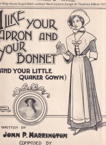 I Like Your April & Your Bonnet Miss Mable Green Quaker Gown Olde Sheet Music