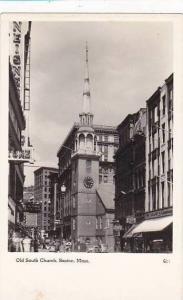 Massachusetts Boston Old South Church Real Photo RPPC